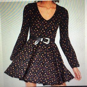 Cute long bell sleeve floral dress